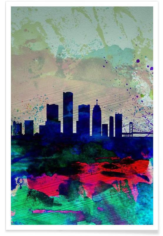 Detroit Watercolor Skyline Poster
