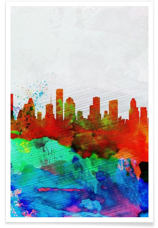 Houston Watercolor Skyline Poster