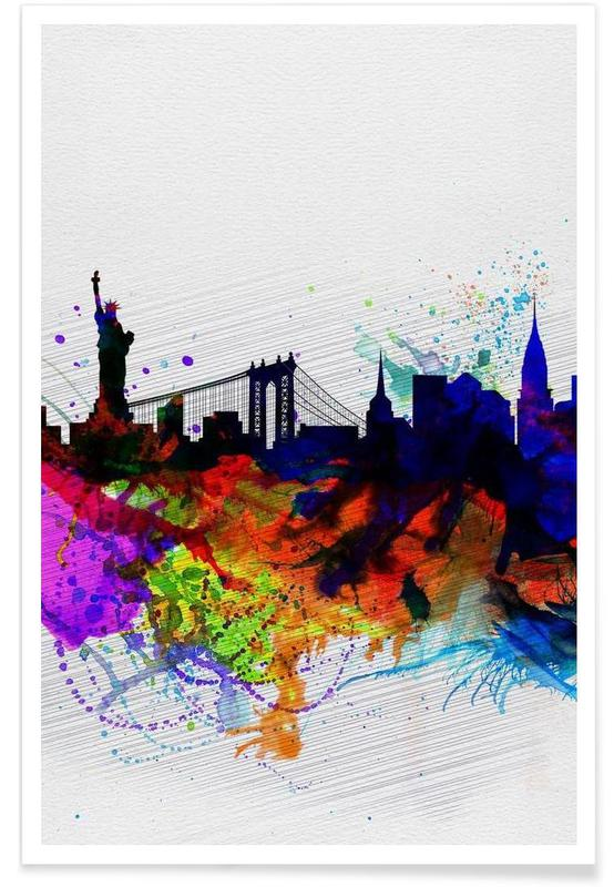 New York  Watercolor Skyline 1 Poster