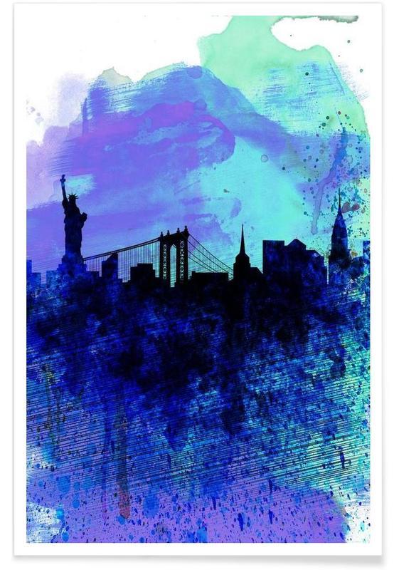 New York  Watercolor Skyline 2 Poster