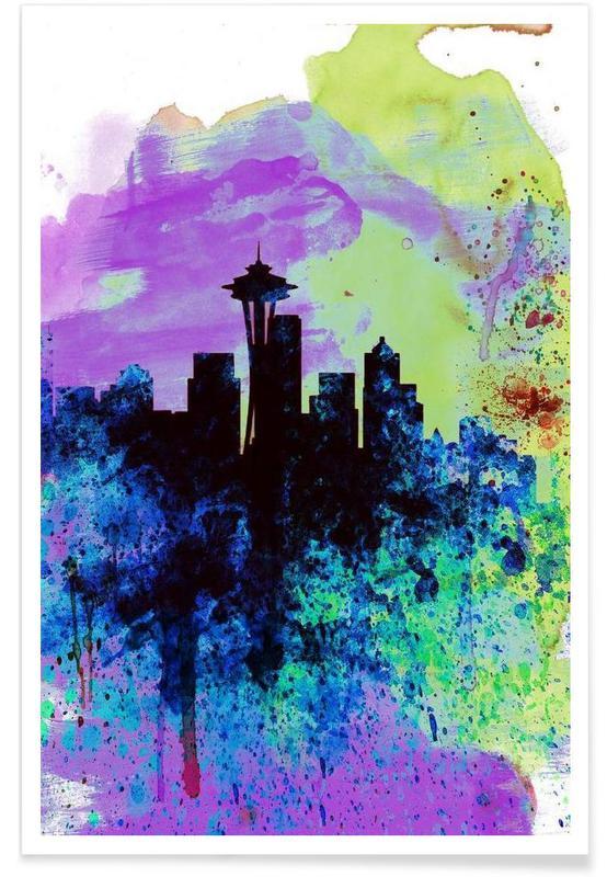 Seattle Watercolor Skyline 1 poster
