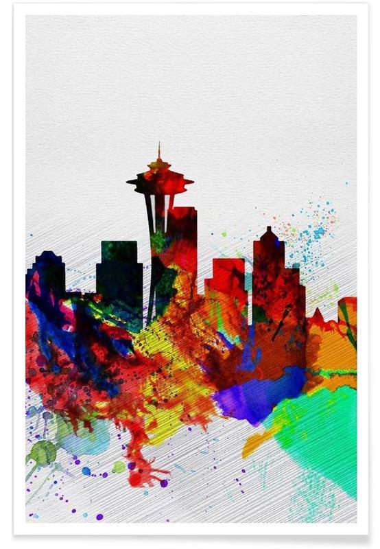 Seattle Watercolor Skyline 2 Poster