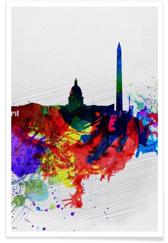 Washington DC Watercolor Skyline 1 -Poster