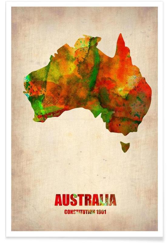 Australie - Carte en aquarelle affiche