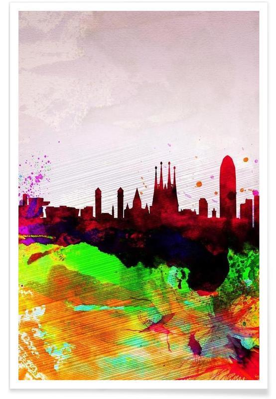 Barcelona Watercolor Skyline -Poster
