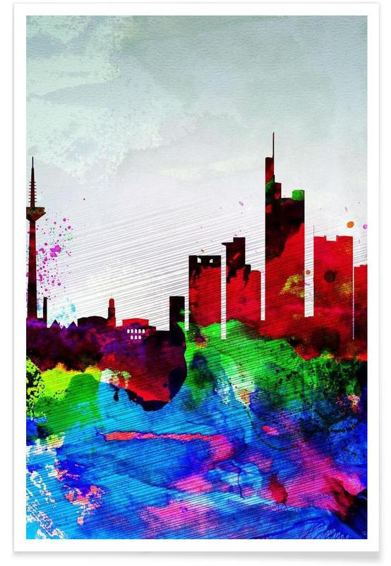 Frankfurt Watercolor Skyline Poster