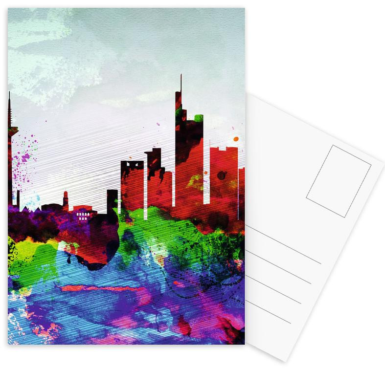 Frankfurt Watercolor Skyline Postcard Set