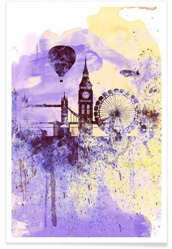 London Watercolor Skyline 2 Poster