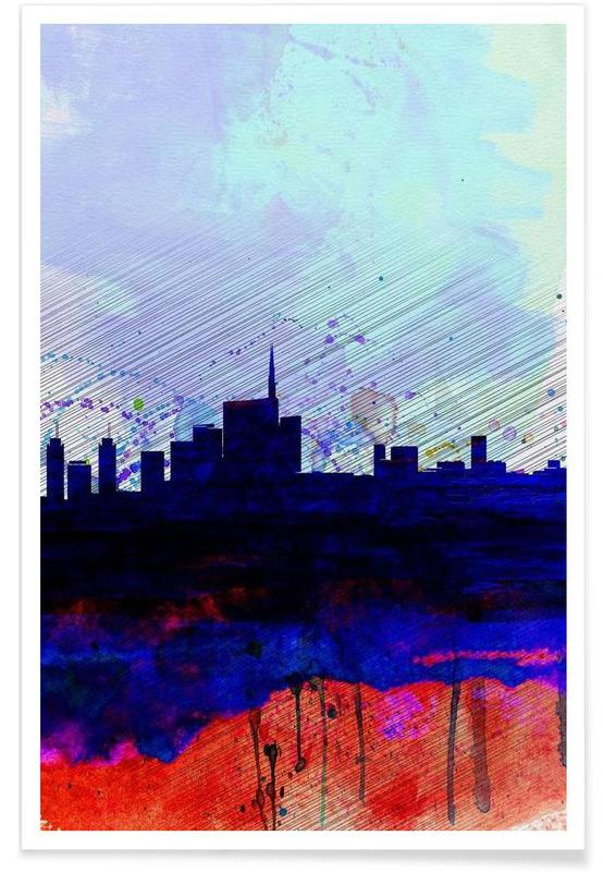 Milan Watercolor Skyline Poster