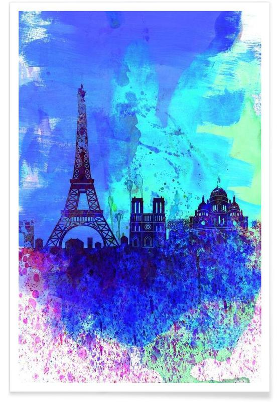 Paris Watercolor Skyline poster