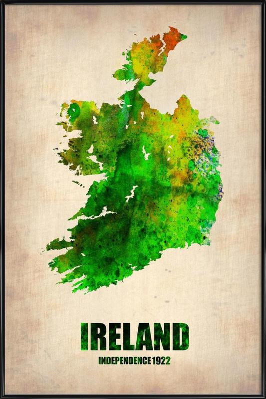 Ireland Watercolor Map Framed Poster