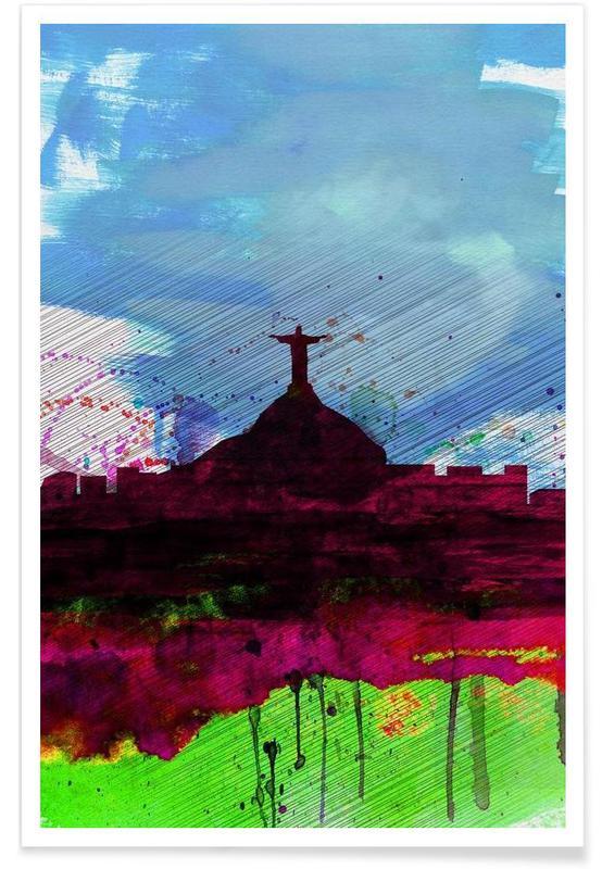 Rio Watercolor Skyline poster