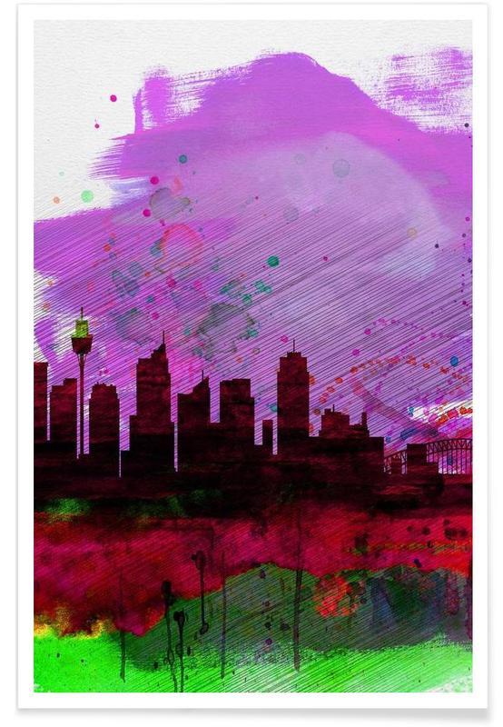 Sydney Watercolor Skyline 2 Poster
