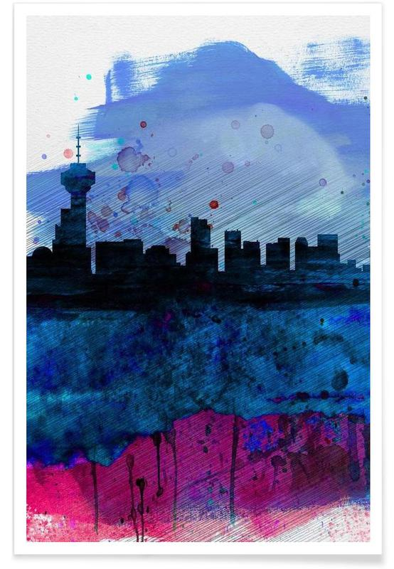Vancouver Watercolor Skyline Poster