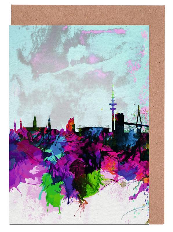 Hamburg Watercolor Skyline Grußkartenset