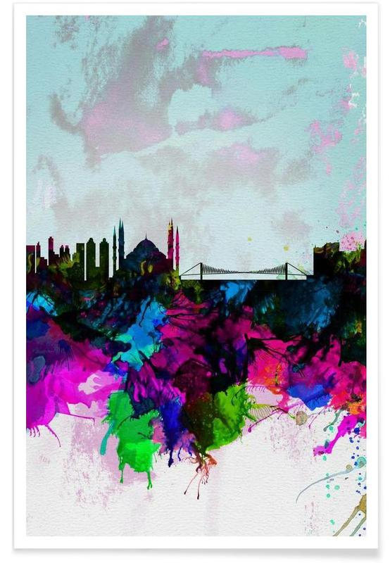 Istanbul Watercolor Skyline Poster