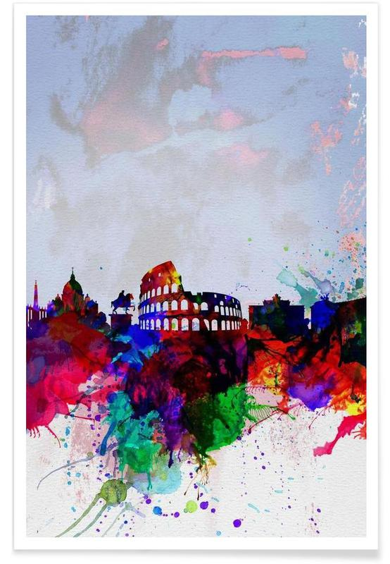 Rome Watercolor Skyline poster