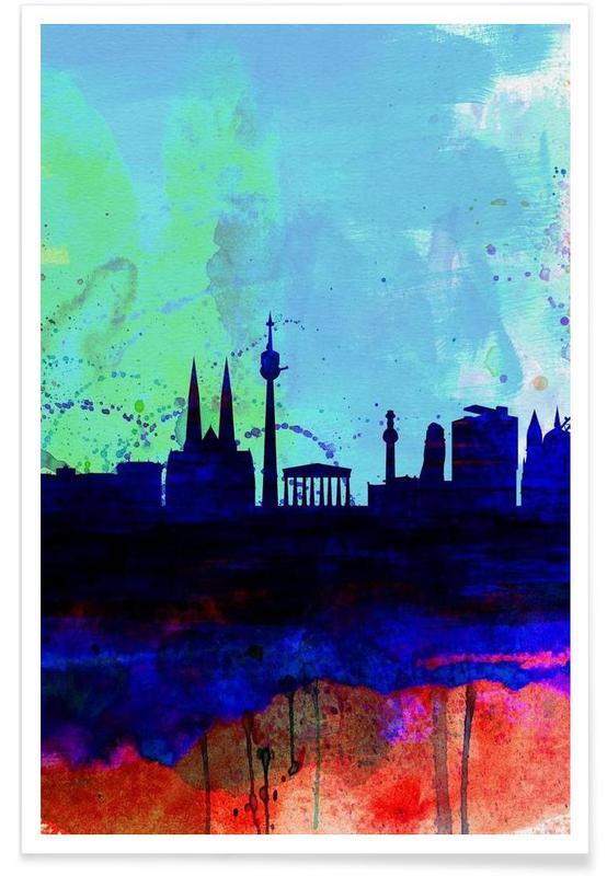 Vienna Watercolor Skyline -Poster