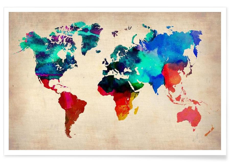 World Watercolor Map Poster