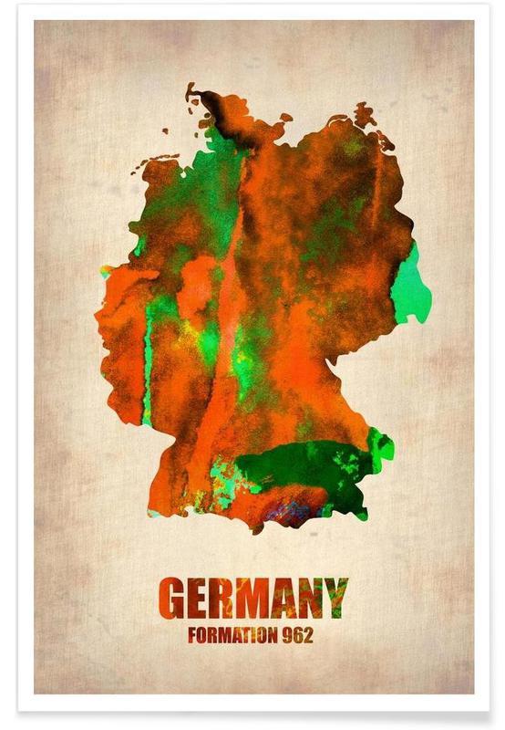 Allemagne - Carte en aquarelle affiche