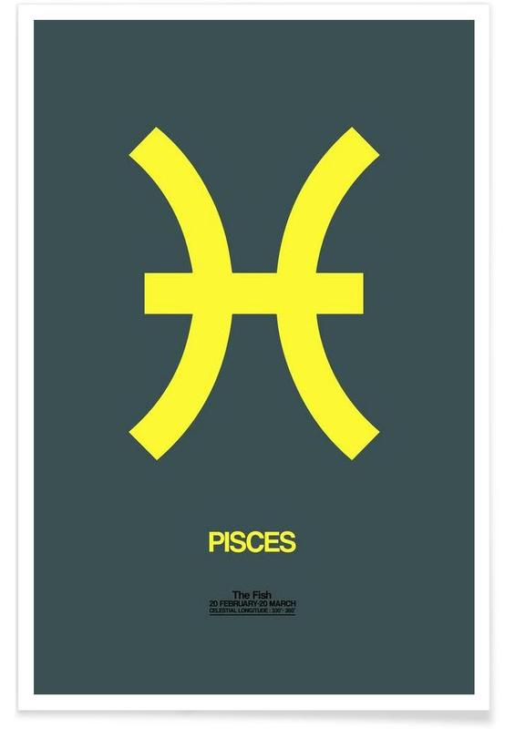 Pisces Zodiac Sign Yellow Poster