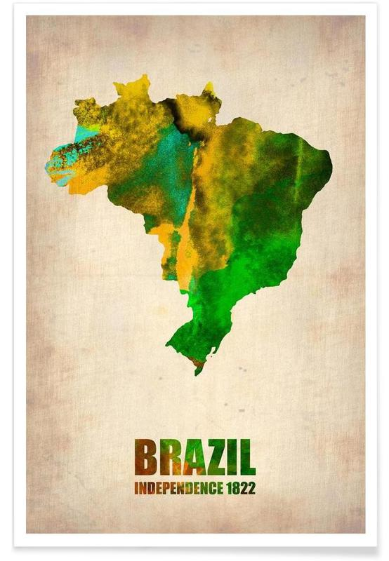 Brazil Watercolor Map affiche