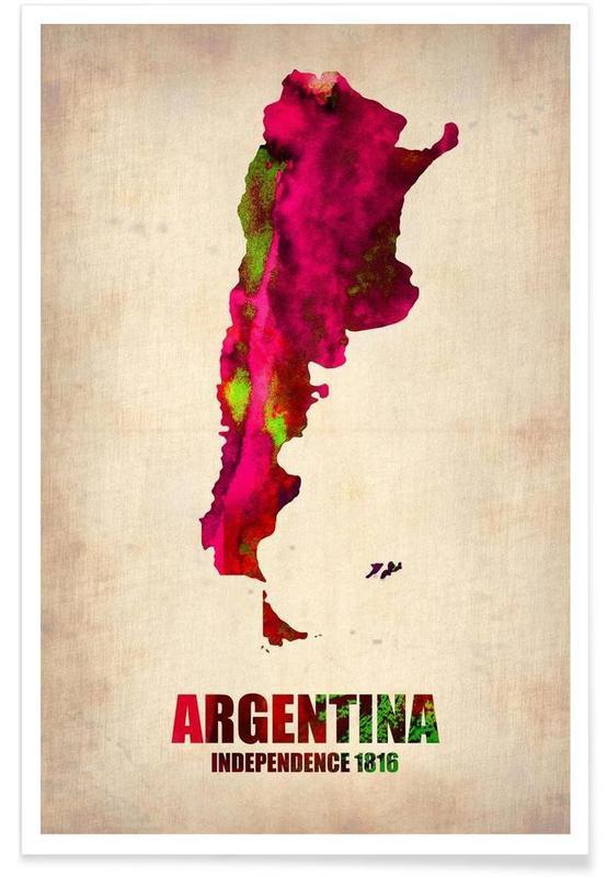 Argentine - Carte en aquarelle affiche