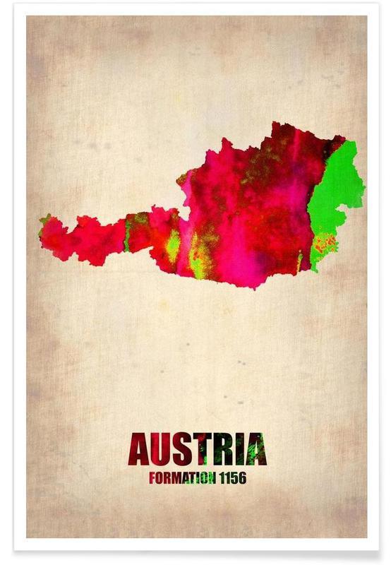 Autriche - Carte en aquarelle affiche