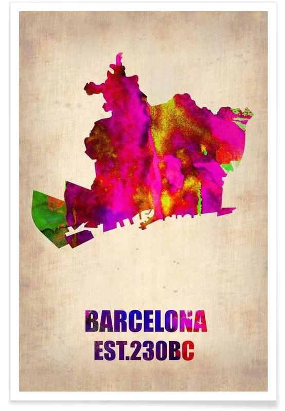 Barcelona Watercolor Map Poster