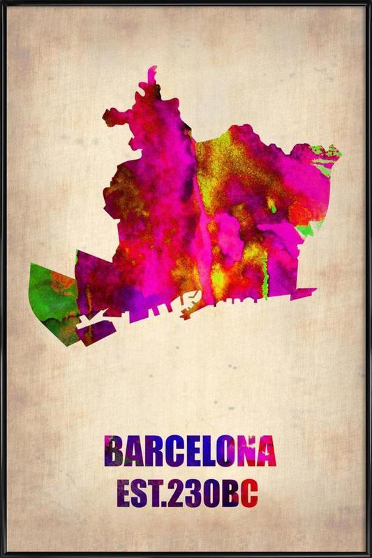 Barcelona Watercolor Map Framed Poster