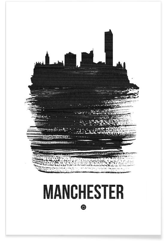 Manchester Skyline Brush Stroke -Poster