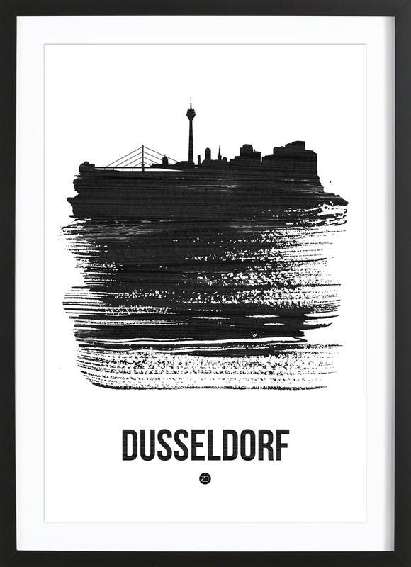 Dusseldorf Skyline Brush Stroke Framed Print