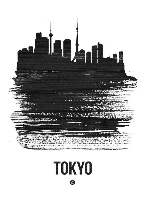 Tokyo Skyline Brush Stroke -Leinwandbild