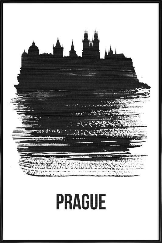 Prague Skyline Brush Stroke Framed Poster