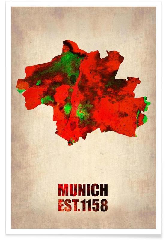 Munich - Carte en aquarelle affiche