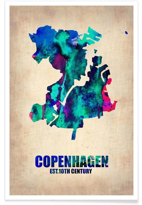 Copenhague - Carte en aquarelle affiche