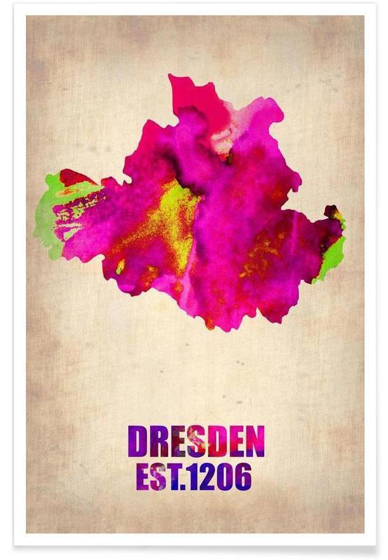Dresde - Carte en aquarelle affiche