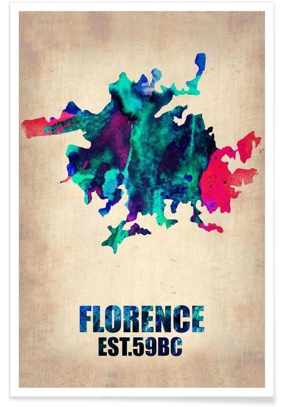 Florence - Carte en aquarelle affiche