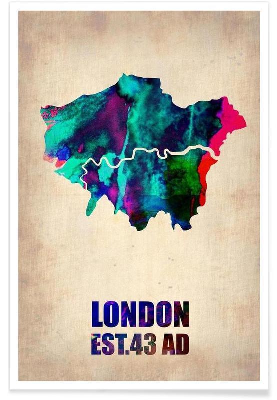Londres - Carte en aquarelle affiche