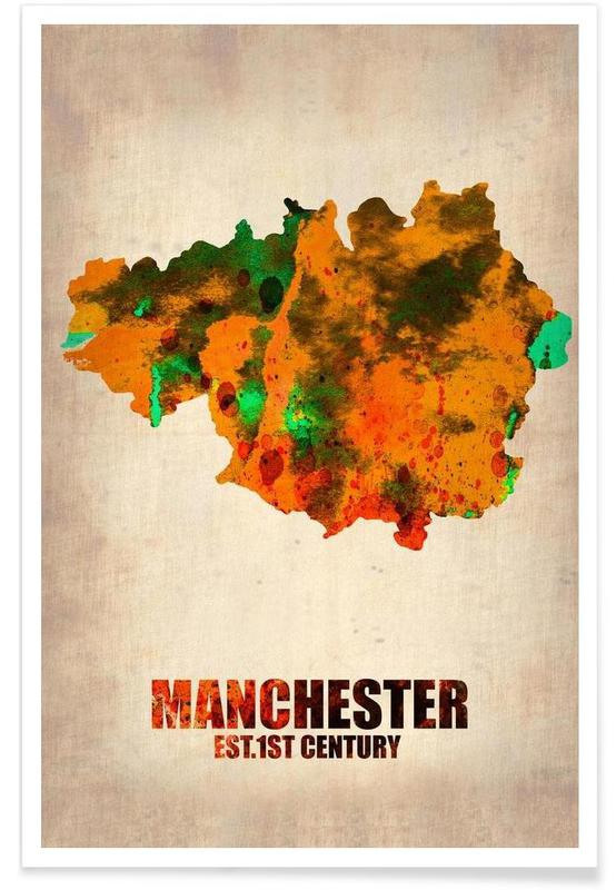 Manchester Watercolor Map Poster