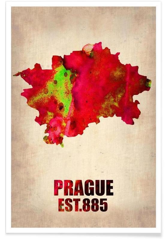 Praag - aquarelkaart poster