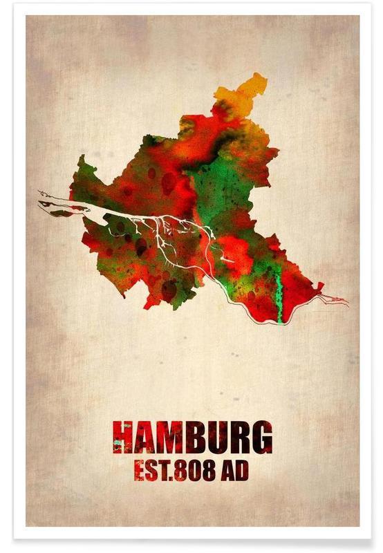 Hambourg - Carte en aquarelle affiche