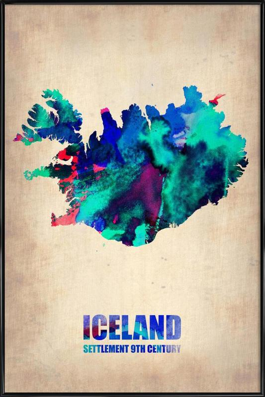 Iceland Watercolor Map Framed Poster