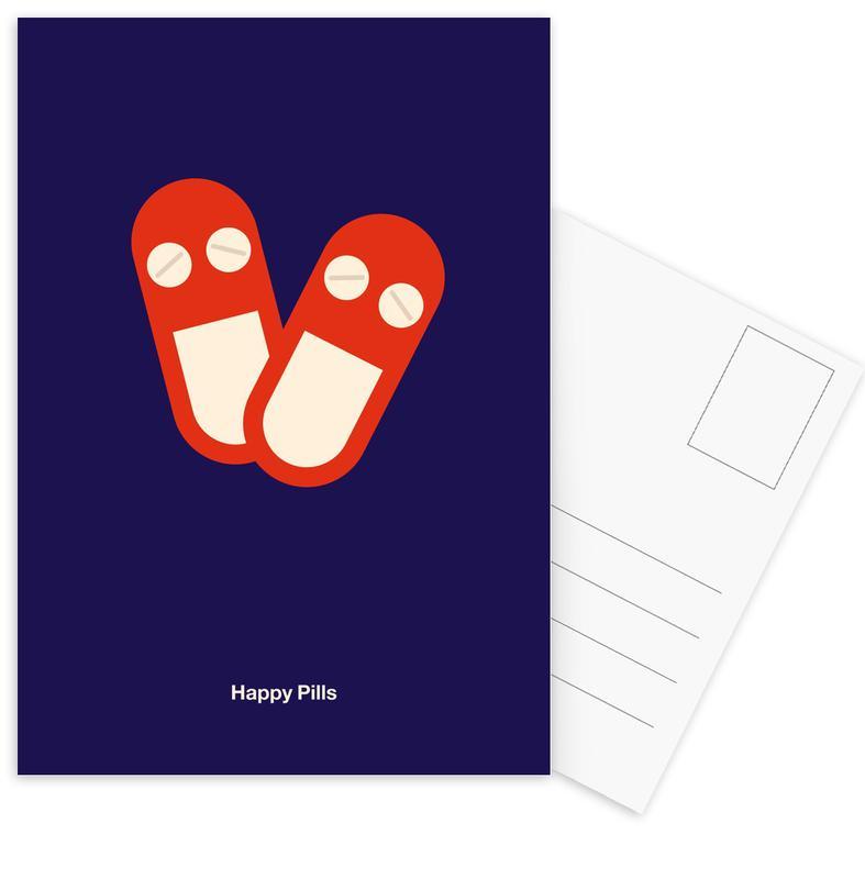 Happy Pills Postkartenset | Dekoration > Accessoires | Mehrfarbig