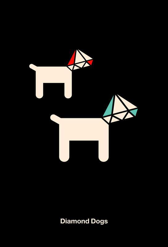 Diamond Dogs Alu Dibond Druck | Dekoration > Bilder und Rahmen > Poster | Mehrfarbig | Aluminium
