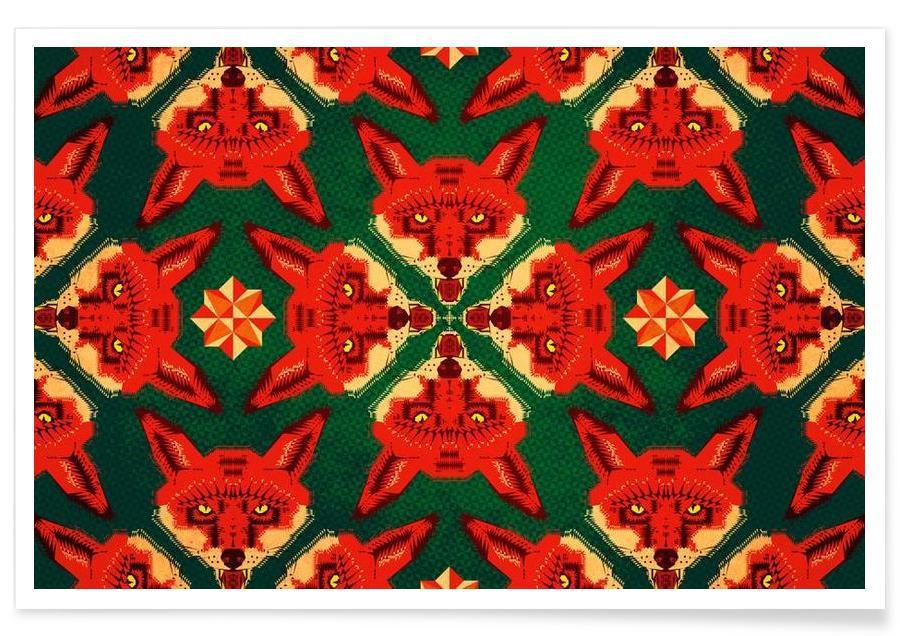 Geometric Fox Pattern affiche