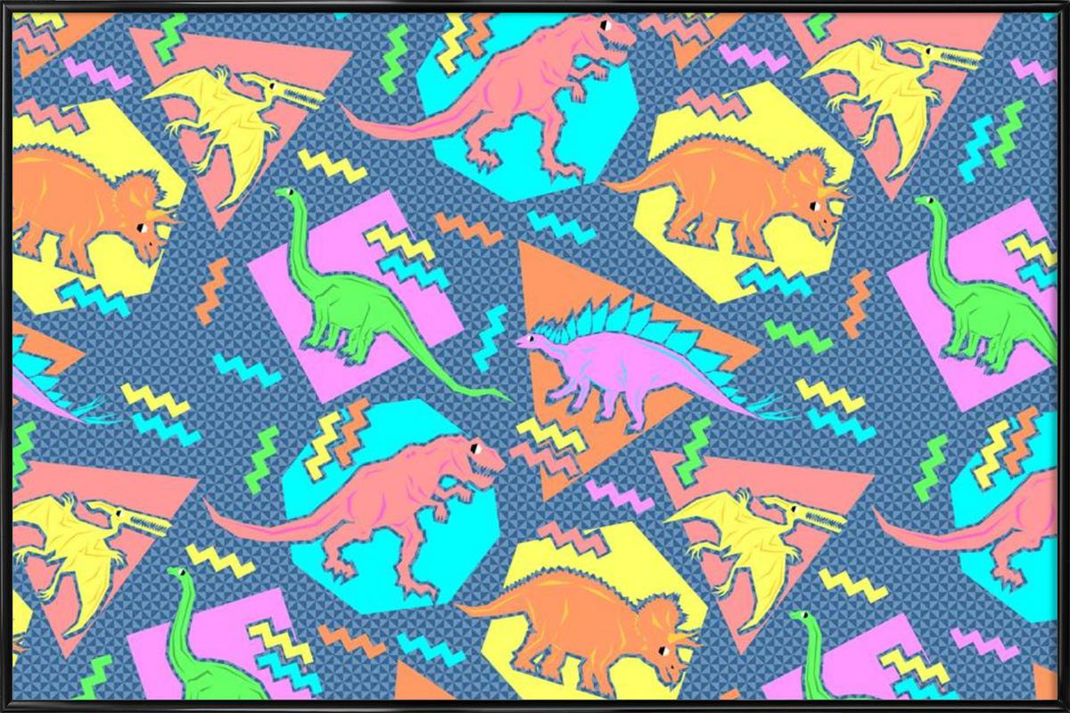 90's Dinosaur Pattern Framed Poster