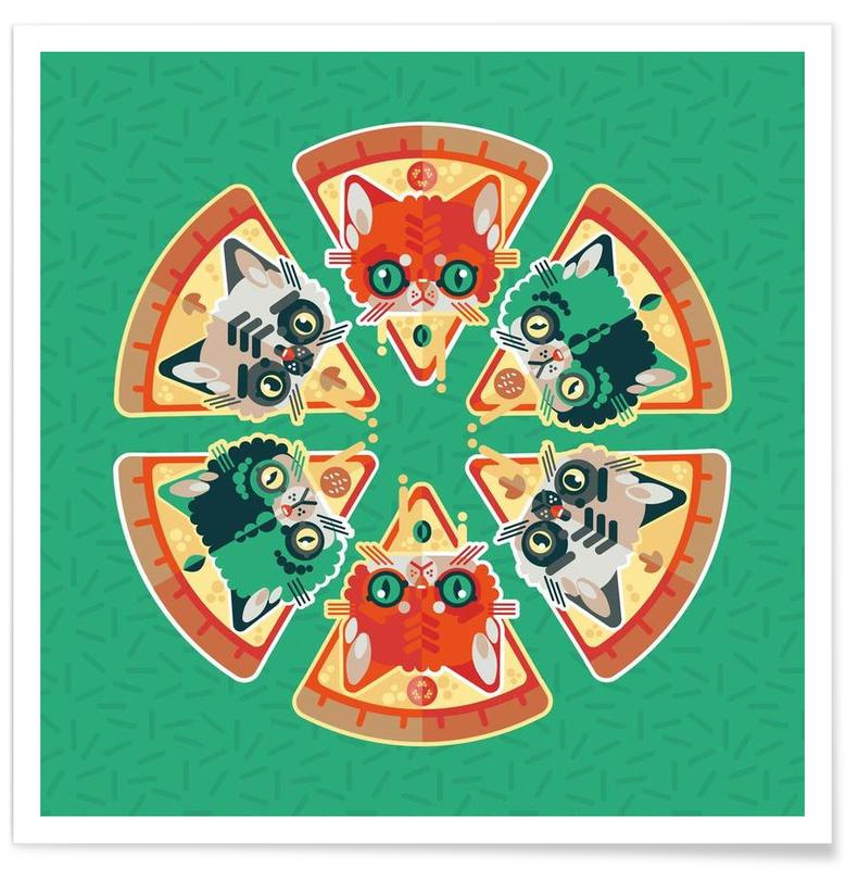 Pizza Slice Cats Poster