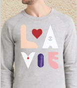 Man wearing a grey sweatshirt with an abstract La Vie design