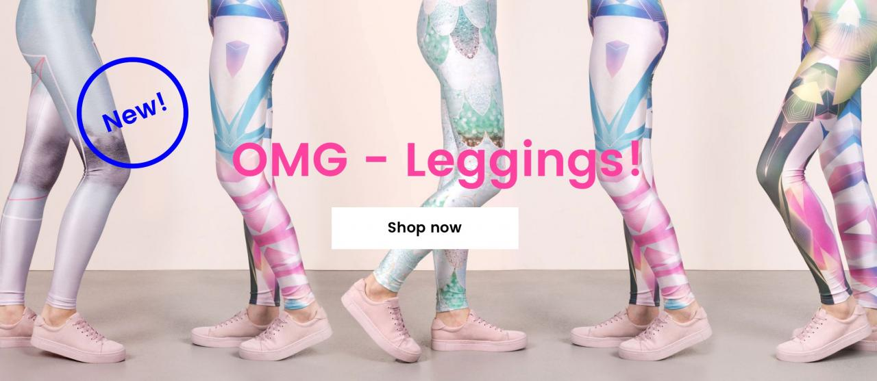 Five sets of female legs in different poses sporting all-over print leggings